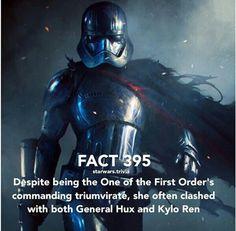 Captain Phasma // Star Wars Facts Star Wars Jokes, Star Wars Facts, Star Wars Fan Art, Star Trek, Rebel Scum, High Ground, Star Wars Baby, Love Stars, Star Wars Characters