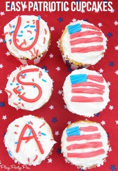 The easiest red, white, and blue cupcakes ever! The perfect 4th of July treats and other great 4th of July party ideas!