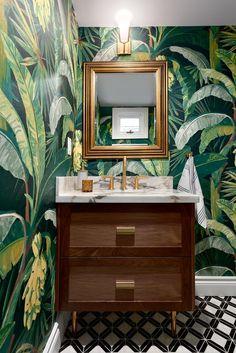 Modern Townhouse, Townhouse Designs, Tree Wallpaper, Bathroom Wallpaper, Wallpaper For House, Funky Wallpaper, Wallpaper Ideas, White Mosaic Tiles, Black And White Tiles