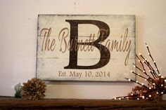Personalized Name Sign Custom Name Sign Family Name Sign Wood Pallet Sign Wedding Gift Bridal Shower Gift Housewarming Gift Brown and Tan by RusticlyInspired on Etsy https://www.etsy.com/listing/200231439/personalized-name-sign-custom-name-sign