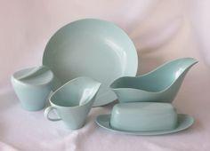 Melmac Turquoise Five Piece Serving Set by Royalon Inc.. $20.00, via Etsy.