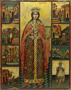 Detailed view: Saint Catherine of Alexandria- exhibited at the Temple Gallery, specialists in Russian icons Byzantine Icons, Byzantine Art, Saint Catherine Of Alexandria, Russian Icons, Orthodox Icons, Patron Saints, Sacred Art, Religious Art, Christianity