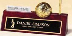 Golf Ball/ Clock on Rosewood Nameplate w/ Business Card Holder & Pen