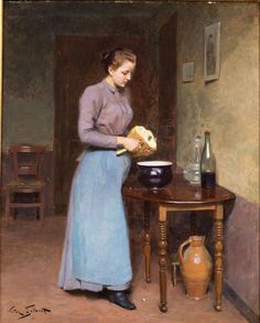 Victor Gilbert (French, 1847-1933), Woman Cutting Bread, Oil on Panel