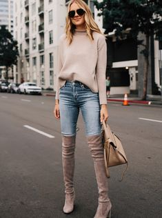 Fashion Jackson Wearing Everlane Cashmere Sweater Denim Skinny Jeans Stuart Weitzman Taupe Over the Knee Boots Outfit Outfits Otoño, Outfits Casual, Fall Outfits, Fashion Outfits, Black Knee High Boots Outfit, Over The Knee Boot Outfit, Over Knee Boots, High Boot Outfits, Beige Boots