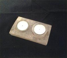 Stave double tea light holder.