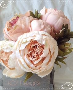 This is a stunning bridal bouquet! Perfect for any wedding. The blush and ivory silk peonies in this bouquet are amazingly soft to the touch and very life like! The bouquet shown has a lace covered b Natural Wedding Flowers, Church Wedding Flowers, Wedding Flower Guide, Blush Wedding Flowers, Wedding Flower Decorations, Wedding Flower Arrangements, Flower Bouquet Wedding, Floral Arrangements, Flower Bouquets