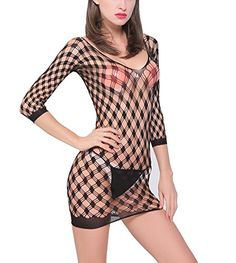 HONENNA Womens Sexy Lingerie See through Mini Dress Fishnet Chemise Black * Read more  at the image link.