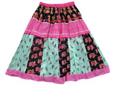 Skirts for Women Pink Multi Color Printed Patchwork Cotton Peasant Skirt Mogul Interior,http://www.amazon.com/dp/B00ISR9T3G/ref=cm_sw_r_pi_dp_yZxltb1PJFPR1GPF