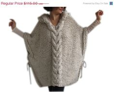 Hey, I found this really awesome Etsy listing at https://www.etsy.com/listing/170782552/on-sale-plus-size-knitting-poncho-with