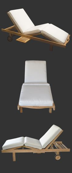 Malibu Teak Sun Lounger and Cushion - Bask in the sun with this popular resort quality sun lounger outdoor furniture. Built-in functions include a slide-out drink tray, adjustable knee lift, and adjustable backrest.