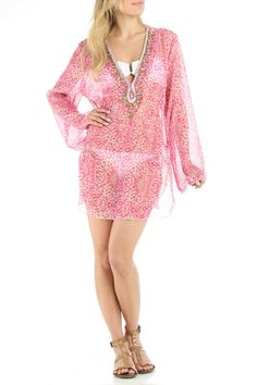 Bathing Suit Cover-Up In Pink.