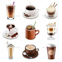 Coffee Drinks Icons Detailed Photo Realistic Vector Set Zip file includes: eps - Coffee Icon - Ideas of Coffee Icon - Coffee Drinks Icons Detailed Photo Realistic Vector Set Zip file includes: editable vector- high-resolution jpg- layered Coffee Icon, Coffee Set, Coffee Drinks, Coffee Time, Drink Icon, Coffee Illustration, Manga Illustration, Buch Design, Fiber Diet