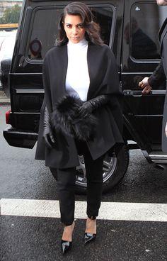 Pregnant Kim Kardashian in Paris on January 22, 2013