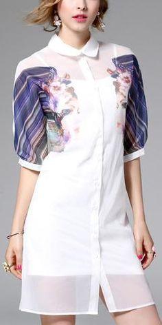 Printed-Sleeve Linen Shirt Dress-White
