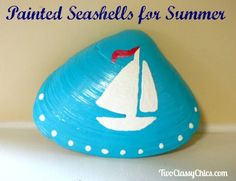 Craft Project - Painted Seashells for Summer Yard Art - alexandra Seashell Painting, Seashell Art, Seashell Crafts, Painting On Shells, Beach Crafts For Kids, Craft Projects For Kids, Kids Crafts, Summer Crafts, Yard Art Crafts