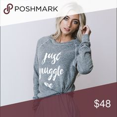 Just Snuggle Me Sweatshirt New Retail Item. Shop more at www.fridayapparel.com - Email subscribers save 10% on their first purchase from our website. ✌🏼️graphic tee Friday Apparel Sweaters Crew & Scoop Necks