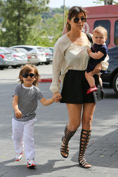 Kourtney Kardashian spotted out with her children.