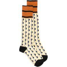 Marni Dot Printed Socks ($70) ❤ liked on Polyvore featuring intimates, hosiery, socks, marni, striped socks, orange socks, polka dot hosiery and dot socks
