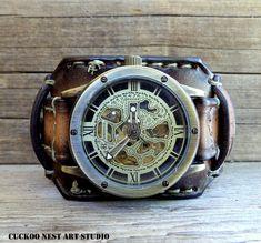 Steampunk Leather Watch, Retro Wrist Watch, Vintage Brown watch, Women's Leather Cuff, Bracelet Watch, Mechanical watch