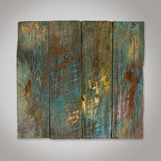 This is an original work of art created with tempra, chalk and gold leaf on wood. The wood is repurposed from an old fence taken down in Memphis, Tennessee.    This piece is 31 in. wide x 29 in. tall.