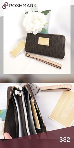 "❌SOLD on Mercari! 🌸Michael Kors Jet Set wristlet Condition:  BRAND NEW WITH TAGS. AUTHENTIC.  Color: Dark brown leather with light MK print.  Wrist strap 7"" drop Zip around fastening  Exterior features gold hardware and logo plaque.  Interior features 1 zip coin pocket, 1 cellphone pocket,  3 card holders, and 1 open pocket.  Measurements: 7""W x 3.5""H x 1""D Michael Kors Bags Clutches & Wristlets"