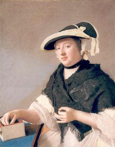 Liotard, Lady Fawkener ca. 1750 pastel. Jean-Étienne Liotard was a Swiss-French painter, art connoisseur and dealer. Liotard was born at Geneva. His father was a jeweller who fled to Switzerland after 1685. Jean-Étienne Liotard began his studies under Professors Gardelle and Petitot, whose enamels and miniatures he copied with considerable skill. en.wikipedia.org