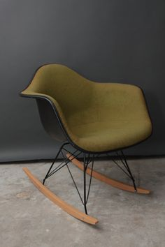 Vintage Herman Miller Eames Fabric Rocking Chair - Mid Century Modern - Green Fiberglass Rocker