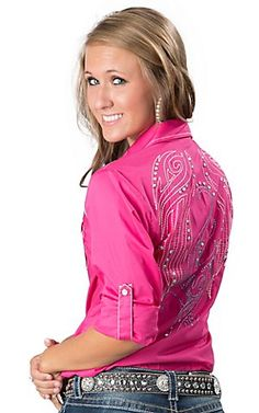 Cruel Girl® Ladies Hot Pink with Embroidery Long Sleeve Western Snap Shirt | Cavender's