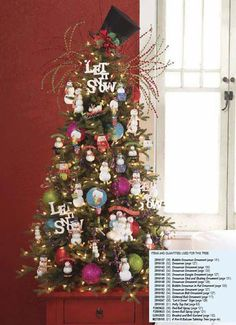Cute snowman tree  love the top hat  maybe that will be my topper this year