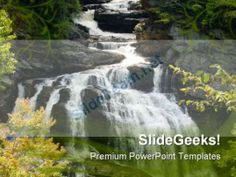 Water Fall Nature PowerPoint Template 1110 #PowerPoint #Templates #Themes #Background