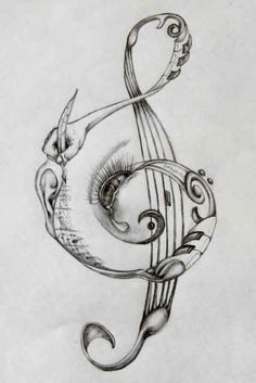 Treble clef design (in color) on right ribs/hip.