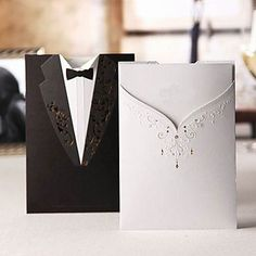 Fancy Black Pocket Bride & Groom Laser-Cut Vertical Wedding Invitations, 100 pcs/lot