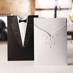 Fancy Black Pocket Bride & Groom Laser-Cut Vertical Wedding Invitations, 100 pcs/lot