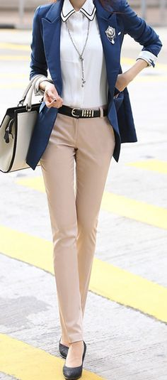 Spring Fashion 2014. Let your preppy side come out! Fitted varsity blazer & nude straight ankle trousers. Too cute! ::M:...