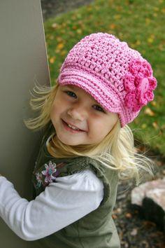 Girls Pink Beanie Hat with Fuschia Flower by LjsCrochetedTreasure, $22.00