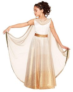 70413519 Kids Goddess Costume White with Gold Headband and Armband Halloween Party  Dress