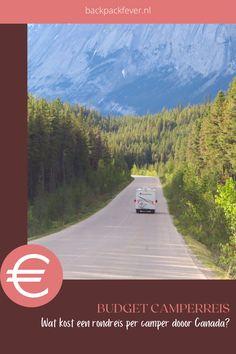 Een rondreis met de camper door West Canada is een onvergetelijke ervaring, maar wel eentje waar je een tijdje voor moet sparen. Hoeveel precies dat ontdek je in deze blog met handige infographic. #budget #canada #camperreis #rondreis #westcanada #alberta #britishcolumbia Best Cities, British Columbia, Continents, North America, Travel Inspiration, Road Trip, National Parks, Mexico, Canada