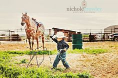 Little cowboy, rope and ride, cowboy hat, horse, children portrait
