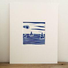 Sailing lino print £20.00