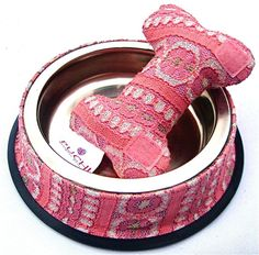 Sale 25% off Dinky Pink Dining Bowl with Detachable Cuddly Bone Toy
