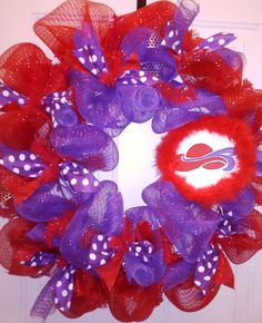 For the Red Hat Ladies!  Each Reel Sassy Wreath is handmade, email for more info, sbsLas@hotmail.com