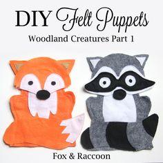 Fox & Raccoon felt hand puppets