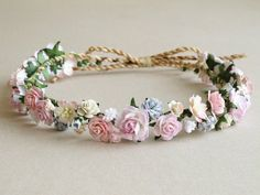 Pink Flower Crown – Paper flower headpiece – Made of mulberry paper and natural twine These can be customized to … Wedding Headband, Diy Headband, Ear Headbands, Flowers In Hair, Pink Flowers, Paper Flowers, Large Flowers, Flower Crown Hairstyle, Flower Headpiece