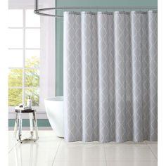 Light Gray Geometric Shower Curtain Set