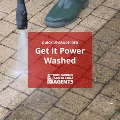 Give your home that extra sparkle by power washing driveways, patios, and decks. Removing years of dirt and build-up lets potential buyers see your property at its best. #CurbAppeal #HomeMaintenance #HomeImprovement #PowerWash #PressureWash #HomeAndGarden #California #SantaCruz #DIY #Garden #Exterior #Patio #Deck #BeautifulHome #Listing #ForSale #SellerTip #HomeSeller #HomeSelling #Property #PropertyMaintenance #PicturePerfect #HomeSale #FSBO #HomeSellers