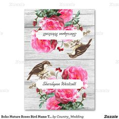 Pink roses and birds, tented place cards to customize with names.  Gray wood, nature theme, for a #boho or woodland wedding theme.  Or use at a summer garden party. #reception