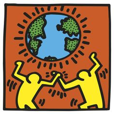 Keith Haring - Untitled. 1982 (Couple in Black, Red, & Green) – Art Commerce
