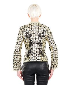 """""""Flowers""""  gold leather jacket mandarin collar long sleeves silk details  front and back decoration with sequins press-stud closure free T-shirt included 100% Leather"""