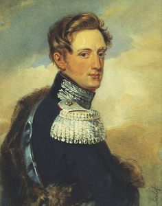 Portrait by A. S. Pushina in 1820s of Tsar Nicholas I Pavlovich Romanov (6 Jul 1796 Gatchina-2 Mar 1855 St. Petersburg age 58) Russia in blue looking forward from side position. 9th Child of Tsar Paul I Petrovich Romanov (1754 St. Petersburg-1801 St. Petersburg age 46) Russia & 2nd wife Tsarina Sophie Dorothea-Maria Feodorovna (1759 Prussia-1828 Russia age 69) Prussia. Posted on Pinterest by Lyudmila.